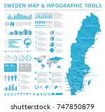 sweden map   detailed info... | Shutterstock .eps vector #747850879