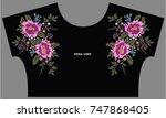 flower embroidery   Shutterstock .eps vector #747868405