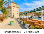restaurant on shore in marina... | Shutterstock . vector #747869125