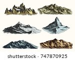 mountains peaks set vintage ... | Shutterstock .eps vector #747870925