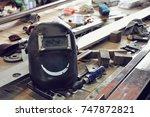 smile welding mask and welding... | Shutterstock . vector #747872821