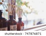 dried flowers in glass bottles | Shutterstock . vector #747876871