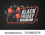 black and red balloons in a red ... | Shutterstock .eps vector #747883579