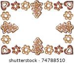 Decorative seasonal shape gingerbread cookies arranged into frame with white background - stock photo