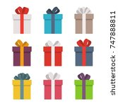 set of colorful gift boxes....   Shutterstock .eps vector #747888811