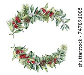 watercolor christmas floral... | Shutterstock . vector #747891085