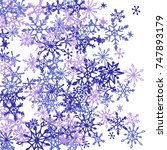 winter pattern with cute doodle ... | Shutterstock .eps vector #747893179