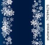 winter card border of snow... | Shutterstock . vector #747894175