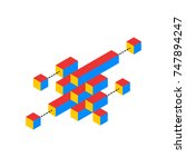 isometric 3d cubes showing data ... | Shutterstock .eps vector #747894247