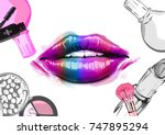 .vector hand drawn illustration ... | Shutterstock .eps vector #747895294