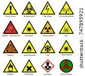 set of hazard symbols. warning...   Shutterstock .eps vector #747895921