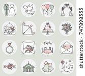 vector icon set of wedding...   Shutterstock .eps vector #747898555