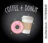 blackboard with donut and cup... | Shutterstock .eps vector #747898849