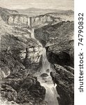 Small photo of Old illustration of Tacazze falls, Abyssinia. Created by Loudon, published on L'Illustration, Journal Universel, Paris, 1868