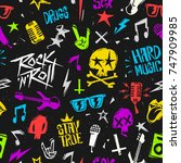 rock'n'roll elements grunge... | Shutterstock .eps vector #747909985