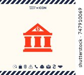 bank icon with dollar symbol | Shutterstock .eps vector #747910069
