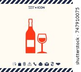bottle of wine and wineglass... | Shutterstock .eps vector #747910075