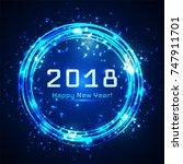 happy new year blue shining...   Shutterstock .eps vector #747911701