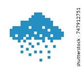 cloud rain pixel art cartoon...   Shutterstock . vector #747912751