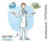 modern smiling doctor in white... | Shutterstock .eps vector #747913441