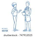 modern doctor in white coat and ... | Shutterstock .eps vector #747913525