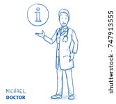 modern doctor in white coat and ... | Shutterstock .eps vector #747913555