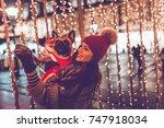 beautiful young brunette woman... | Shutterstock . vector #747918034