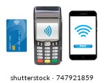 pos terminal with smartphone... | Shutterstock .eps vector #747921859