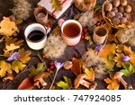 autumn background with... | Shutterstock . vector #747924085