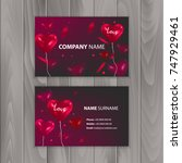 business card templates with... | Shutterstock .eps vector #747929461