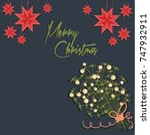 merry christmas card with and... | Shutterstock .eps vector #747932911