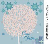 merry christmas card with and... | Shutterstock .eps vector #747932917