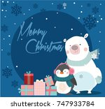 merry christmas card with bear... | Shutterstock .eps vector #747933784