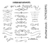 collection of handdrawn swirls... | Shutterstock .eps vector #747933991