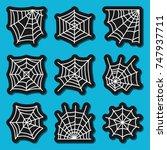 spider web icon sticker set.... | Shutterstock .eps vector #747937711