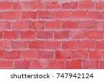 bright red brick wall texture... | Shutterstock . vector #747942124