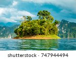 small island with tropical... | Shutterstock . vector #747944494