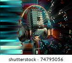 vintage microphon with... | Shutterstock . vector #74795056