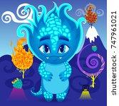 little dragon or monster in... | Shutterstock .eps vector #747961021