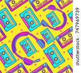 retro pop 90s audio seamless... | Shutterstock .eps vector #747969739
