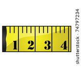 Glossy vector illustration of a yellow measuring tape - stock vector