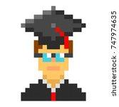 graduation cap student avatar...   Shutterstock . vector #747974635