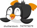cute baby penguin is sliding on ... | Shutterstock . vector #747975079