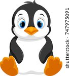cute baby penguin cartoon... | Shutterstock .eps vector #747975091