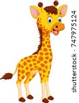 cute giraffe cartoon isolated...   Shutterstock .eps vector #747975124