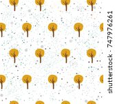 seamless tree pattern with... | Shutterstock .eps vector #747976261