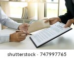 business man give bribe to the... | Shutterstock . vector #747997765
