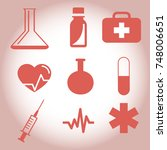 medical red icon set | Shutterstock .eps vector #748006651