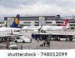frankfurt  germany   oct 10 ... | Shutterstock . vector #748012099