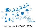 vector illustration of santa... | Shutterstock .eps vector #748012774